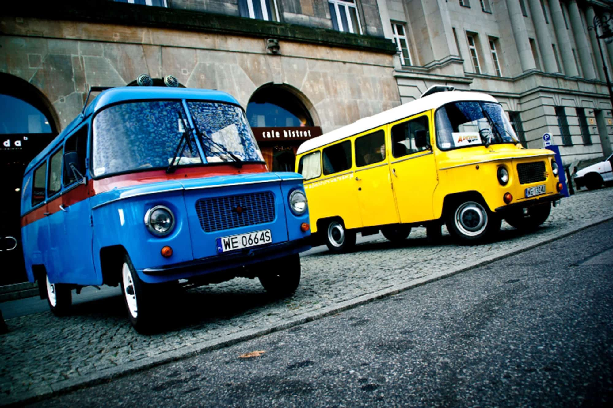 Two polish vans Nysa at the Communism Tour