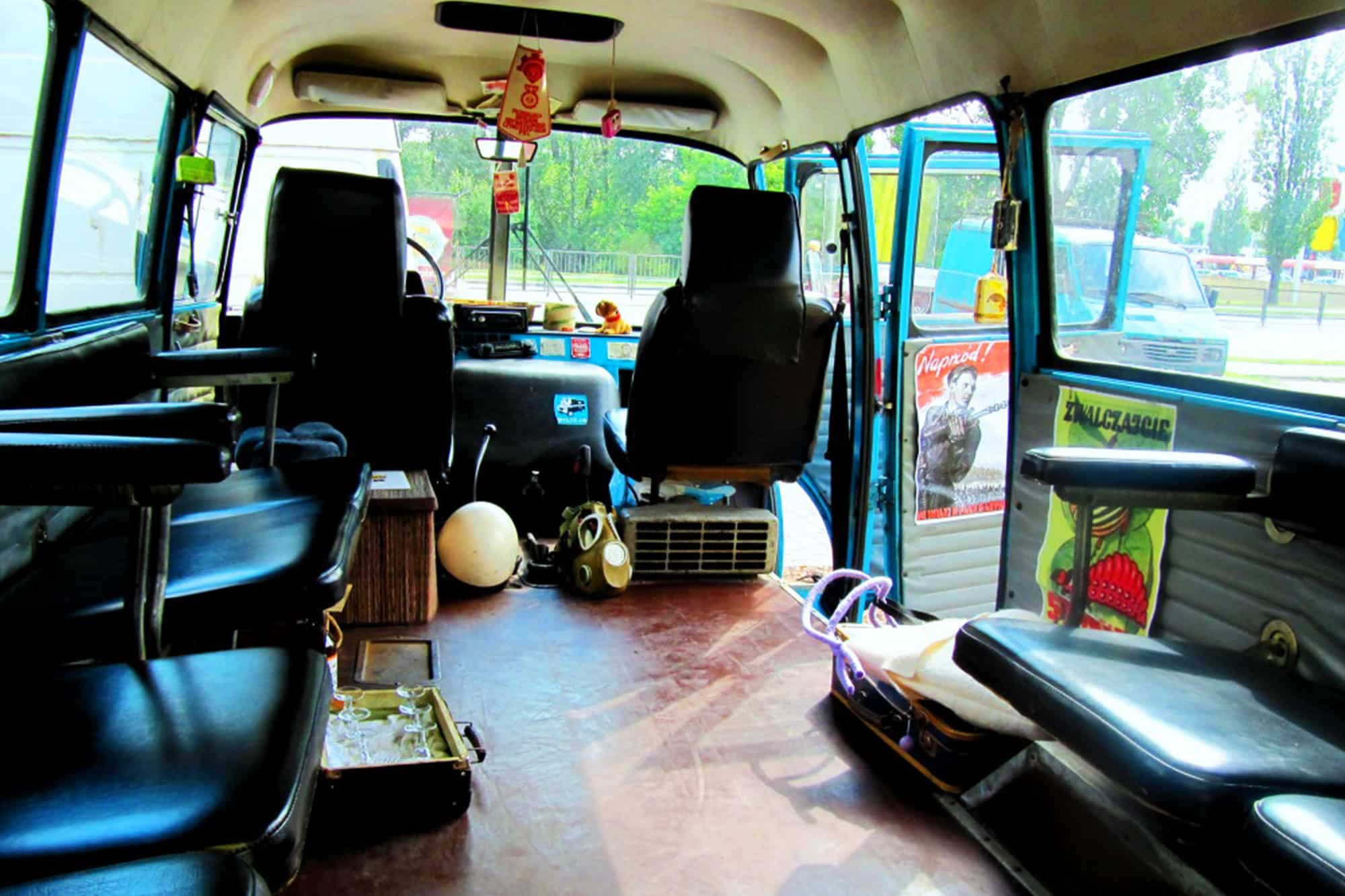 Inside of the old polish Nysa van