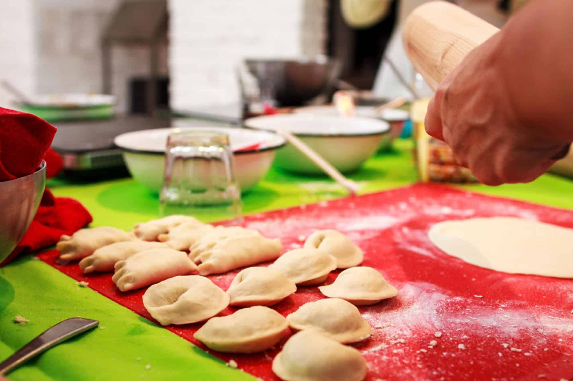 Pierogi before boiling at the cooking class in Warsaw