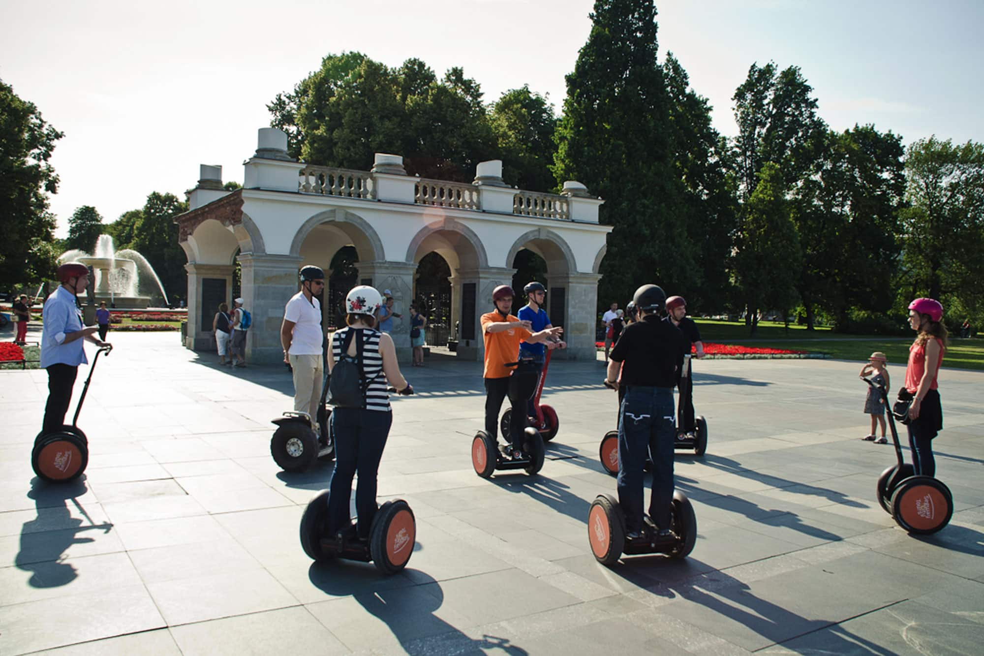 Group is gliding away at the Segway Tour from Pilsudski Square in Warsaw