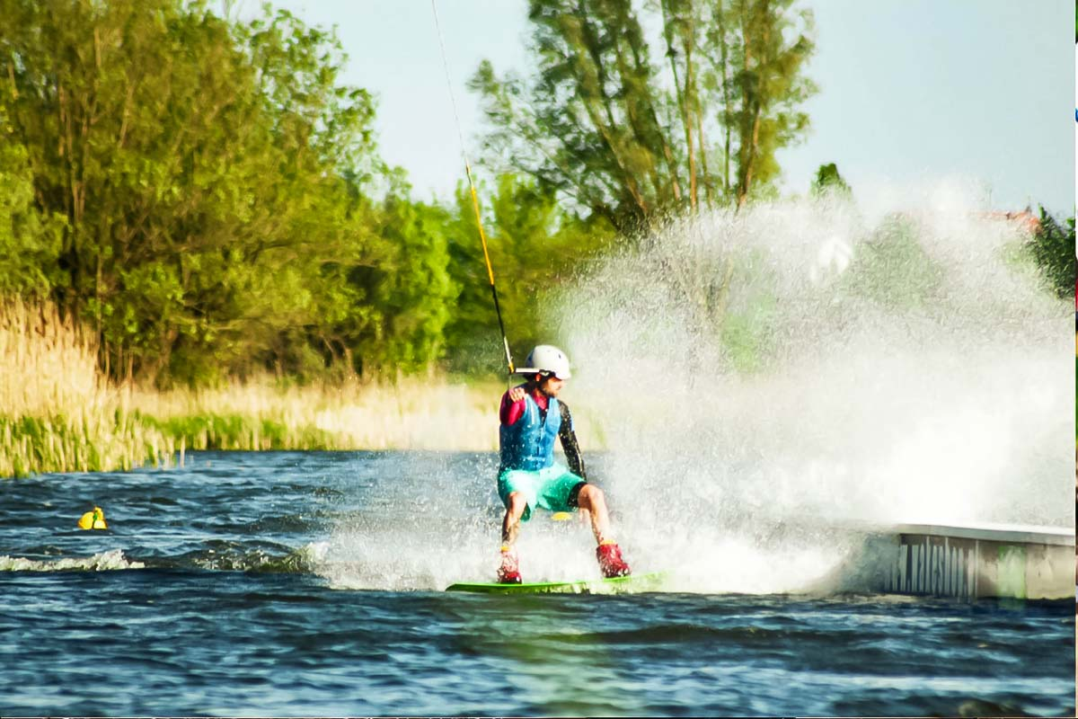 Extreme wakeboarding in the water in Warsaw