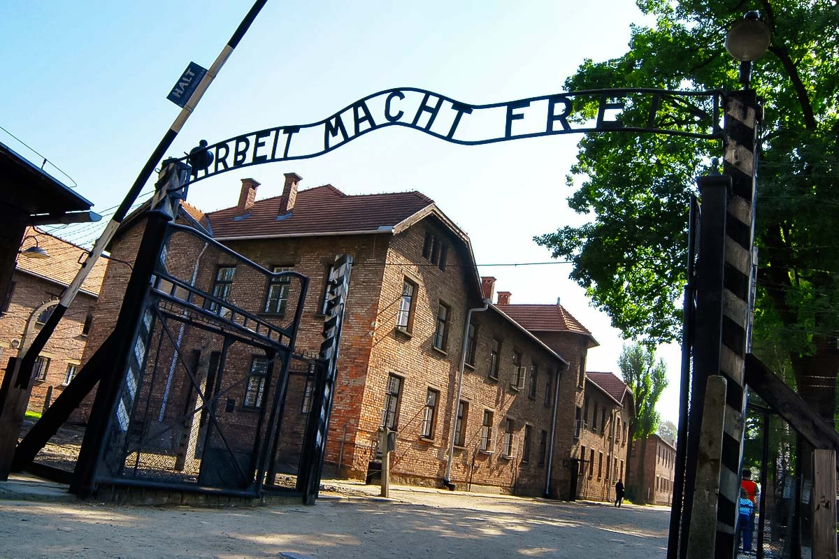 Entrance to the Nazi camp in Auschwitz next to Krakow