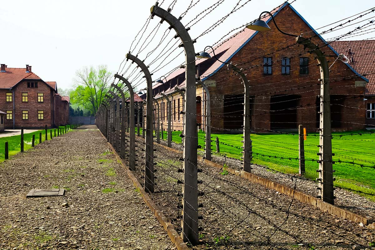 Fence dividing the nazi camp Auschwitz from the outside