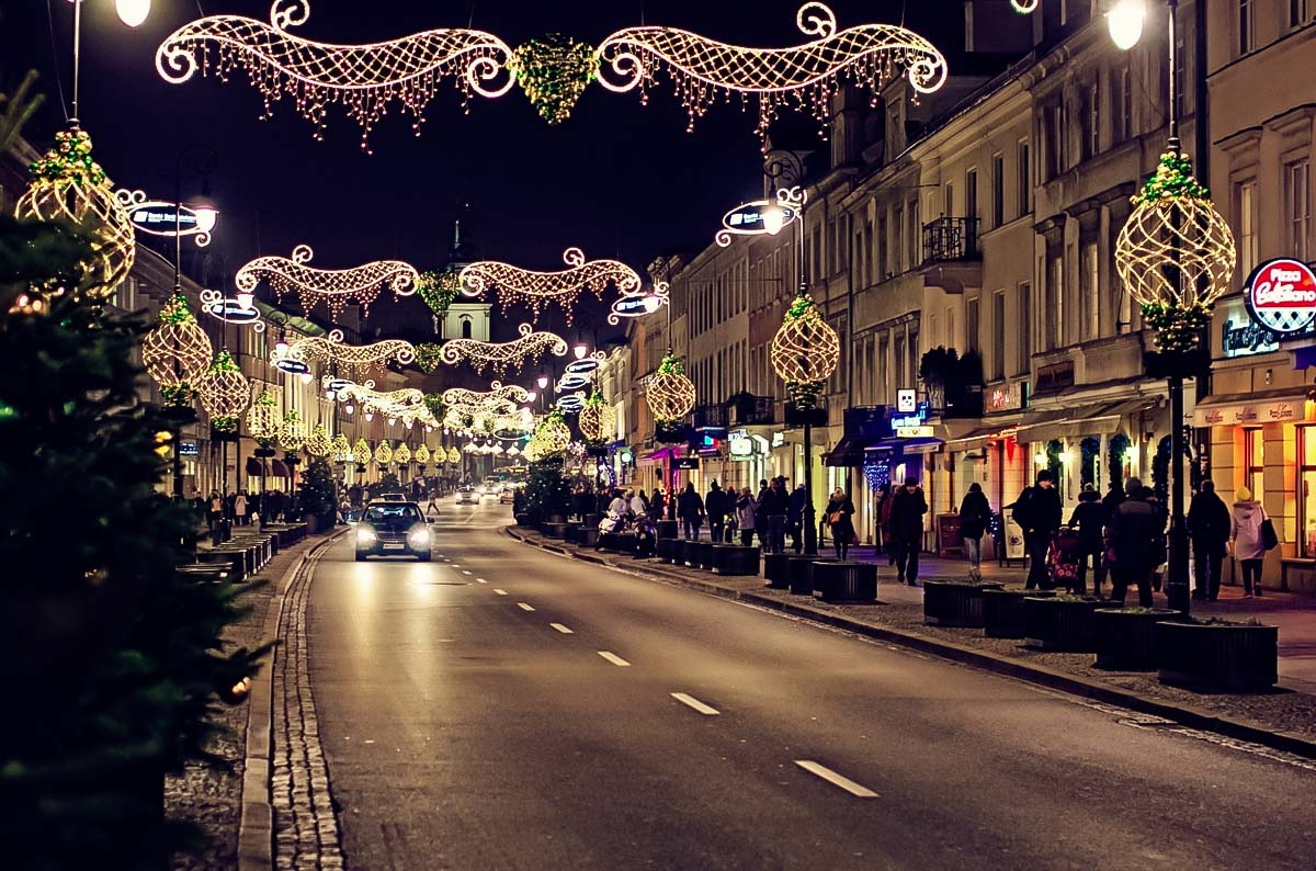 Warsaw's famous Nowy Swiat street and Krakowskie Przedmiescie are decorated with huge amount of christmas lights to make visitors feel special during the New Years in Poland