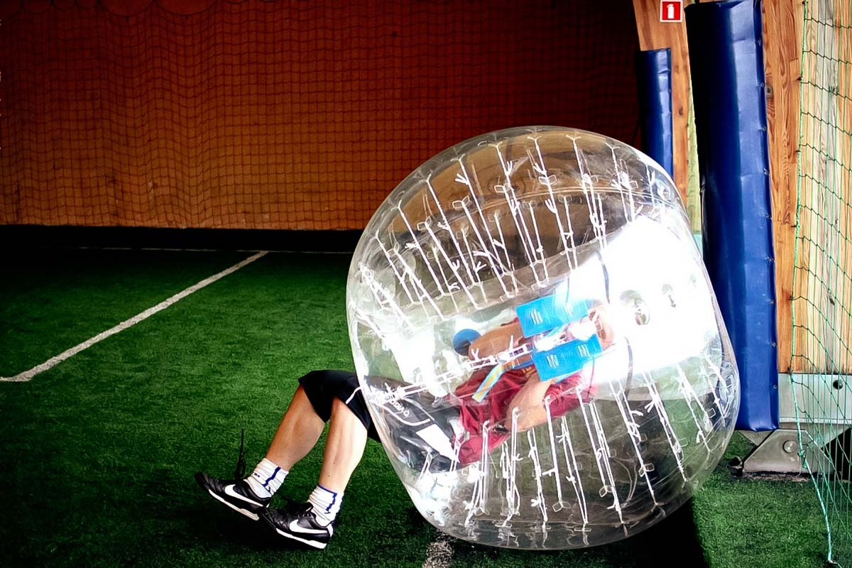 Falling while playing indoor bubble football