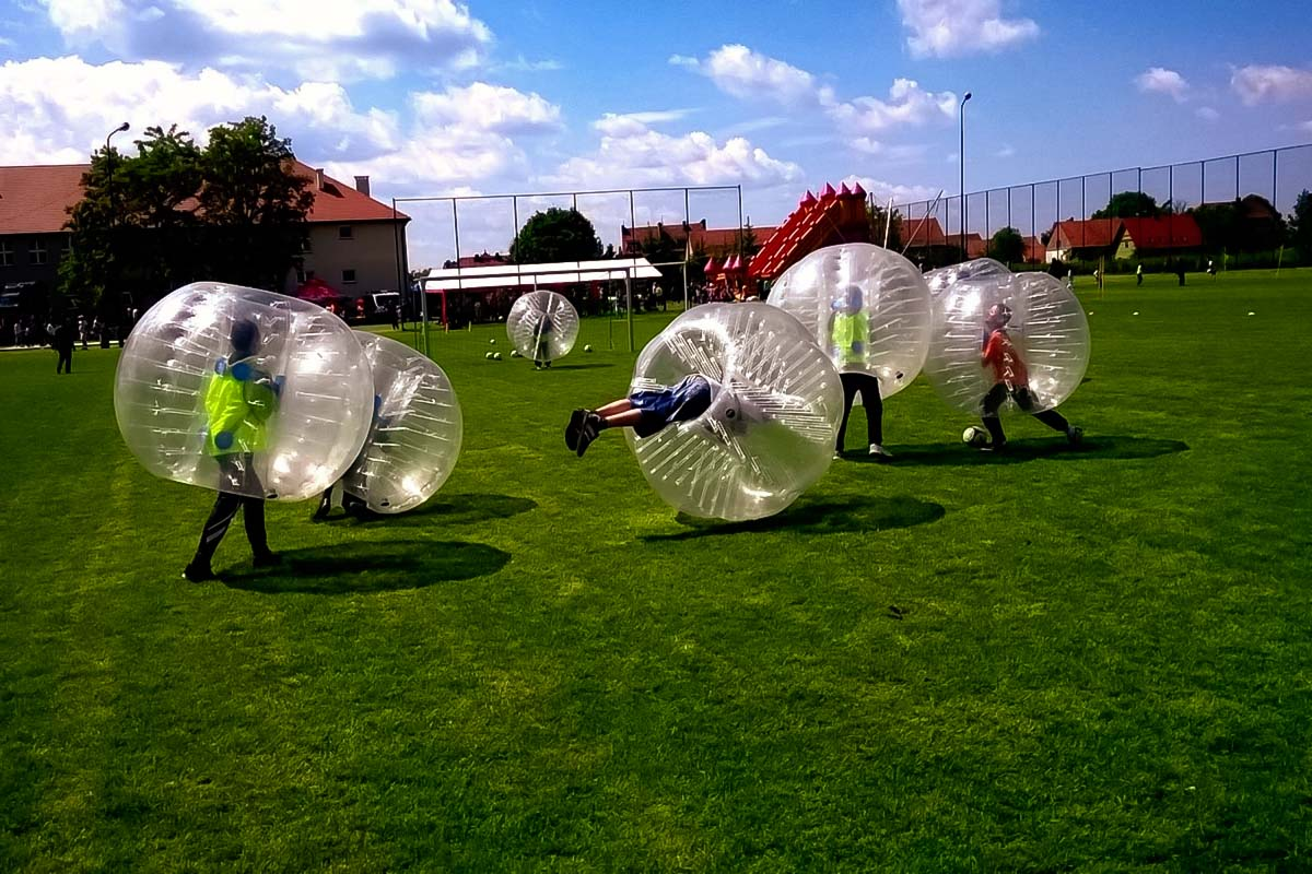 Group having fun with Bubble football
