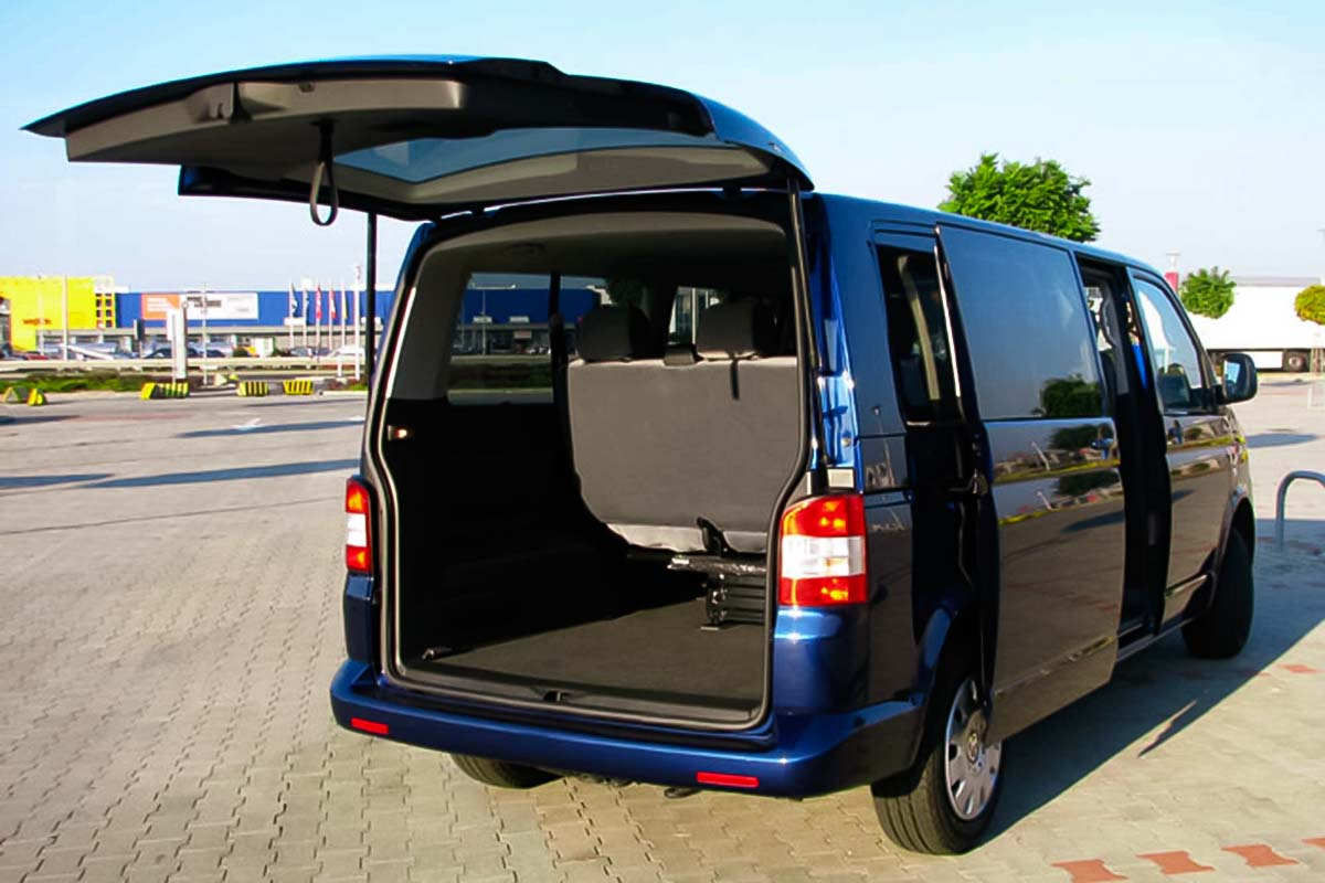 Volkswagen minivan can fit 8 people with hand-luggage. Our professional driver will pick you up at the arrivals with a board with your name
