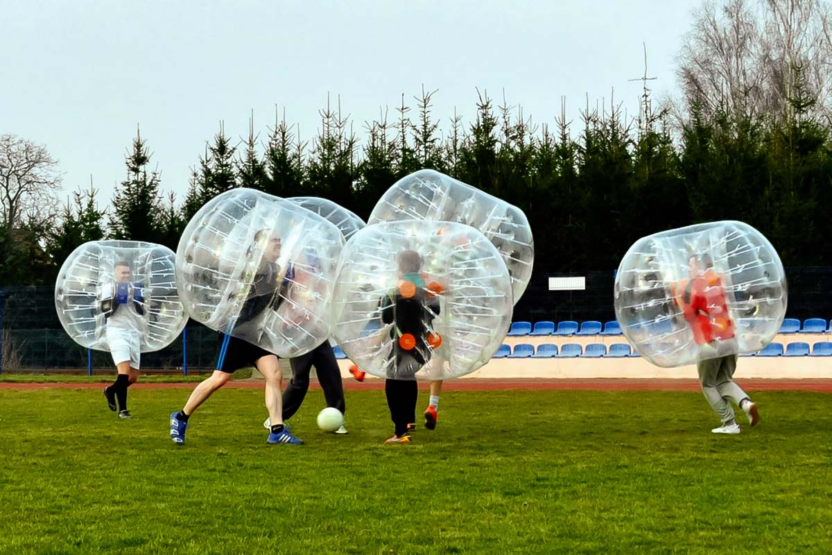 Bubble Football in Poznan is such a great team-building activity for a company trip