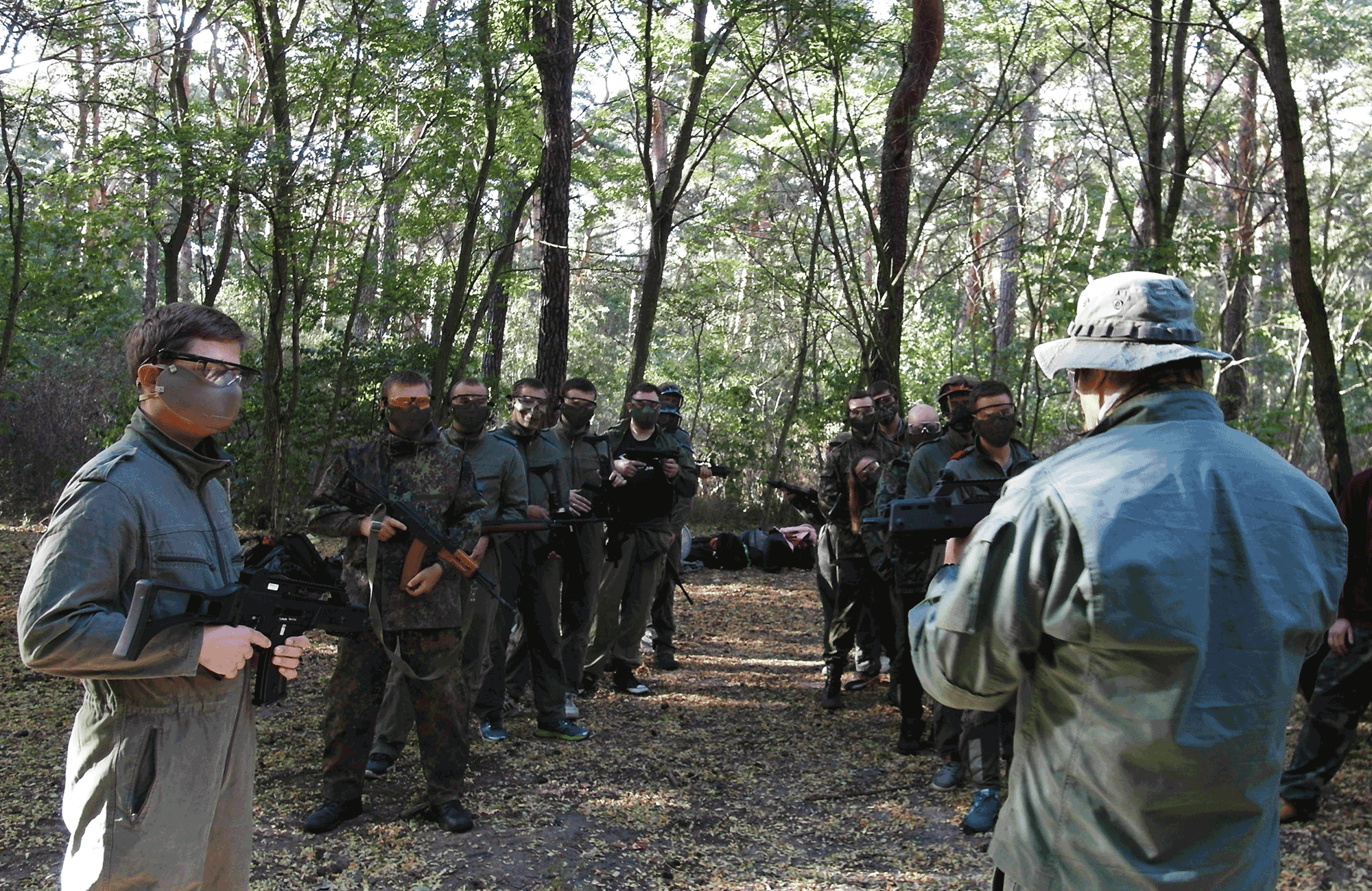 Action Shooting Game in the forest for bachelor groups visiting warsaw