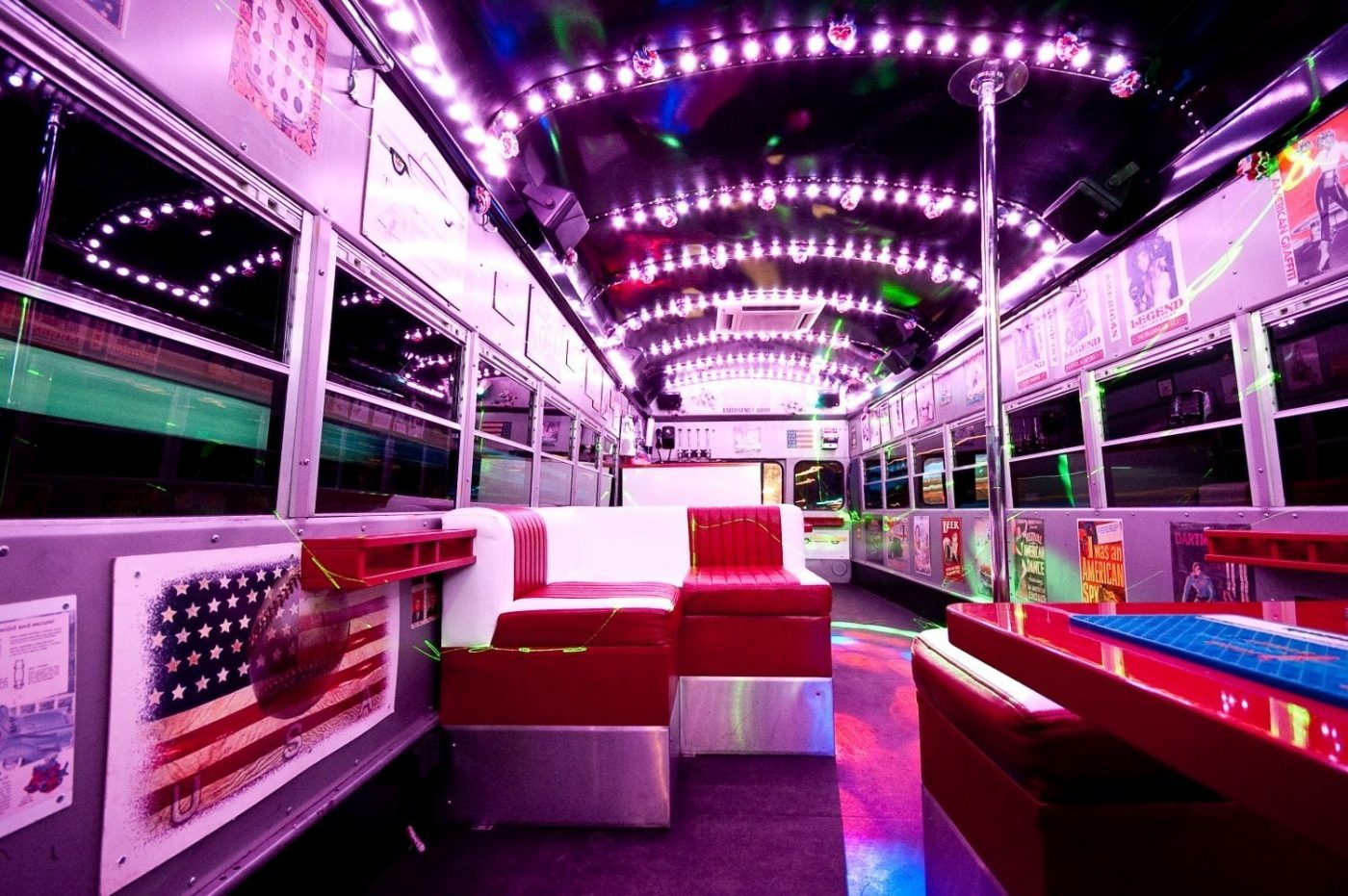 Interior of a School Party Bus in Warsaw